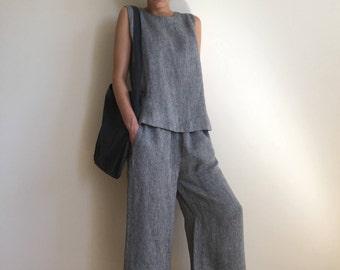 NEW Grey wide leg linen pants /  elastic waist linen trousers