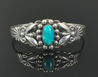 Maisel's Turquoise Sterling Cuff Bracelet Native American Traditional Navajo