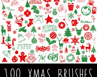 100 Christmas Photoshop Brushes - Christmas Silhouettes - Beautiful Photoshop Brushes - Xmas Brushes - Personal and Commercial use