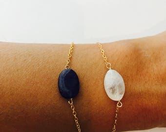 Moonstone Bracelet Natural Gemstone Bracelet Layering Bracelet Gemstone Bracelets Dainty Bracelet  Healing Bracelet Aventurine