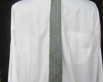 Vintage Skinny Tie in Silk by Damon, Damon Vintage Silk Tie, Vintage Damon Silk Tie in Blue Gray, ca. 1950s