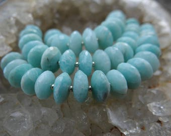 Amazonite | Faceted German Rondelle Beads | 7.5-10mm | Sets of 12, Sets of Sets of 16, Sets of 18, Sets of 19