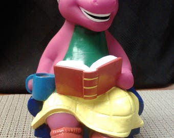Reading Barney coin bank by Lyons made in China in 1988