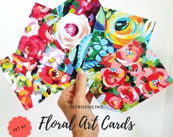 FLORAL ART CARDS Set #1 Five Blank Cards w/ Envelopes in Cello Bag, Valentine's Cards Featuring the Floral Mini Paintings Seen on Instagram