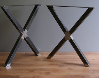 "X table legs 28 "" (71 cm ) steel table legs, kitchen table legs, dinning table legs, powder coated (SET OF 2)"