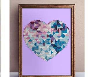 Geometric modern heart cross stitch pattern PDF, Buy 2 get 1 free,  romantic gift, DIY Wedding Printable PDF Sampler Funny Easy