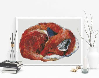 Cross stitch pattern modern fox, Red fox cross stitch pattern PDF, cute animal cross stitch