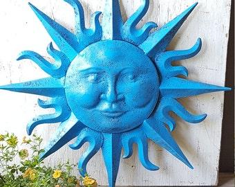 Large Metal Sun Wall Art Turquoise Antique Brasss Garden Decor Metal Sun Face Decor Metal Garden Wall Hanging Wall Decor Sun Face wall art