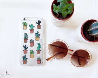 Cactus Succulent Phone Case for Summer Hand Painted for iPhone or Samsung