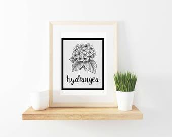 farmhouse print, farmhouse, farmhouse printable, wall art, digital download, hydrangea, seed packet, vintage, rustic