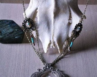 """Snow and """"Snjor"""" Turquoise Rose necklace"""