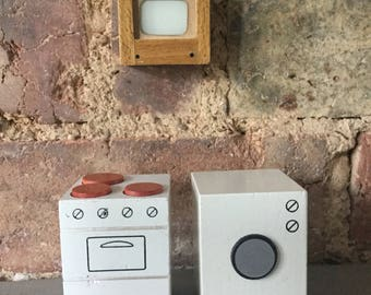 Miniature Doll House Furniture, Cooker, Washing Machine, Television Set. Miniature White Goods