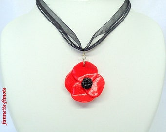 """Necklace polymer clay flower """"Poppy"""" red and black - handmade"""