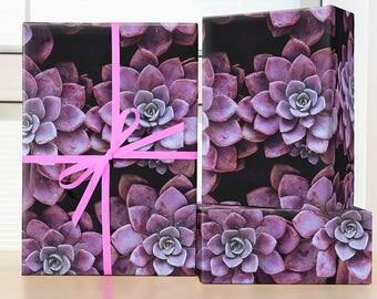 Purple Succulent Wrapping Paper; Boho Succulent wrapping paper; purple succulent wrapping paper; cactus wrapping paper; succulent gift