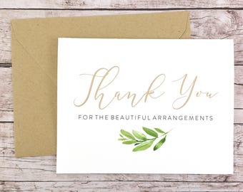 Thank You for the Beautiful Arrangements Card, Florist Thank You Card, Wedding Vendor Thank You - (FPS0060)