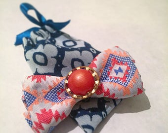 Coral Aztec Print Bow Barrette Hair Thing - FREE SHIPPING