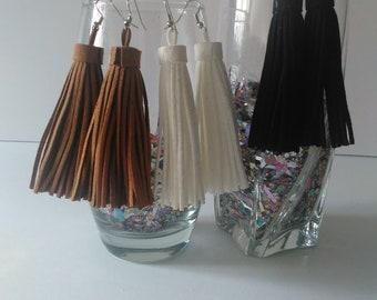Leather Fringe Tassel Drop Earring-Brown, Black, White in Color