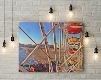 Santa Monica | Ferris Wheel | digital download | West Coast | Digital Print | Wall Art | Home Decor | California | Beach Print |