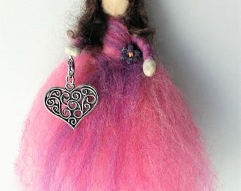 Valentine Heart Wool Fairy with Removable Silver Pendant (Pink)