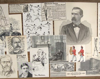 Victorian Clippings Handsome Gentlemen -A Curated Collection of Antique and Vintage Illustrations from Old Books & Magazines (18 pieces)