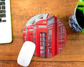 Cubicle Decor, Mousepad, Moving Away Gift, Phone Booth London, Going Away Gift, Mousemat, Mouse Pad, Desk Accessories, Coworker Gift