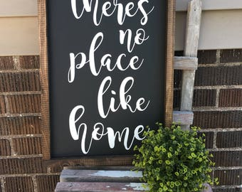There's No Place Like Home, Rustic, Wood Sign, Framed Sign, Farmhouse, Home Decor, Photo Prop, Housewarming, Wall Art, 12x18, Gift