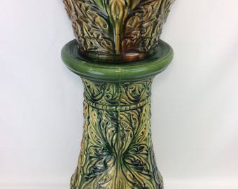 SUPER RARE 1920's McCoy Pottery Stylized Jardiniere and Pedestal Set