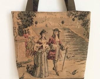 Large Shoulder Tote Travel Work Purse Vintage Authentic French Tapestry Tote Bag Olive Green Denim, Hoffman Batik Interior Tote Bag