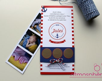 Announcement scratch Theme sinner sailor - birth, birthday, wedding