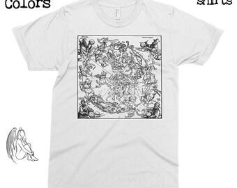 Northern Hemisphere of the Celestial Globe - Albrecht Durer T-shirt, Tee, American Apparel, Dürer, Art, Woodcut, Engraving, Dore, Cute Gift