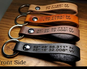 Custom Leather Keychain, Personalized GPS Coordinates, Messages, Names, Symbols, etc. Permanent Engraved. Anniversary Quotes Made in America