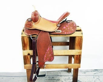 "15"" Custom Pink Gator Rough Out Handmade Western Horse Pleasure Trail leather Saddle"