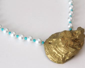 Gold Oyster Shell Necklace . Oyster Shell Necklace with Pearl Beads . Beach Necklace . Summer Jewelry . Oyster Jewelry . Blue, Gold, Pearls