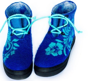 Felted Women Boots Valenki Wool Shoes Spring Boho Short Blue Eco Boots Tracery Flowers Ornament Painting Platform Felt Boots Easter Gift