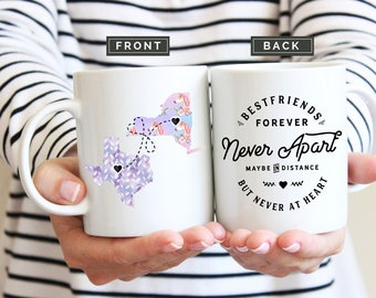 Best Friend Long Distance Mug, Soul Sisters Mug, State Long Distance Mugs, Best Friends Forever Never Apart Mug, Long Distance Mug, Home Mug