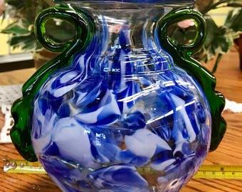 Vintage Blue Green Art Glass Vase Hand Blown