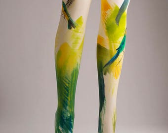Hand-painted Tights, Fashion, Stockings, Pantyhose, Unique Women Tights, Fashion Brand, Birds, Greenery, Exotic, Tropical, Artistic, Art,