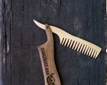 groomsmen gifts pocket beard comb hair men comb men birthday gift Beard grooming Mens gift Moustache comb Husband gift Best friend gift