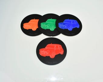 classic mini cooper coasters cool car coasters matte and gloss acrylic retirement gifts