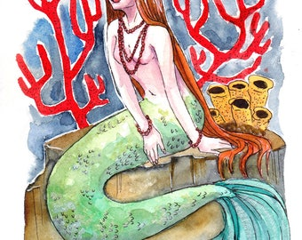 Coral Mermaid - Watercolor Print, Mermaid Art, Wall Art, Wall Decor, Painting Print, Fine Art Prints, Illustration Print