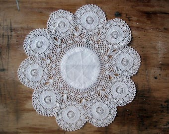 vintage doily - hand crocheted lace table mat with circular motifs - shabby cottage home decor