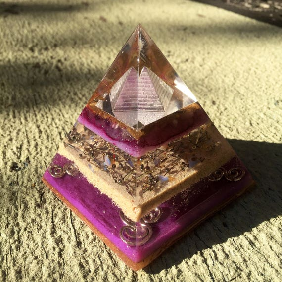 The Revealing Orgonite® Pyramid- Amethyst Filled 3D Orgone Energy Pyramid for Letting Go Of Pain & Stagnation- Steampunk Purple Orgonite®