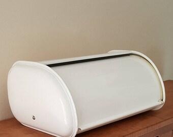 White Metal Bread Box Rolltop Bread Box