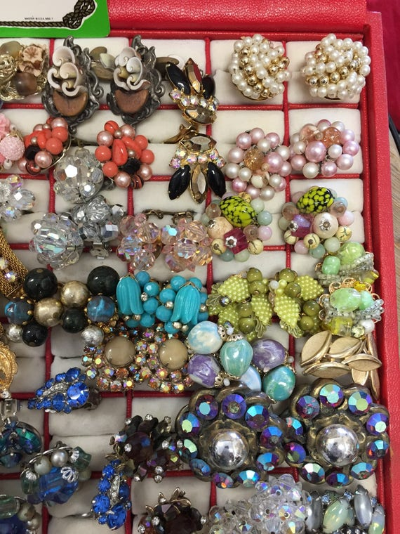 Lot of 46 Pairs of Vintage Mid Century Clip-On Earrings