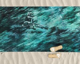 Beach Towel, Mens beach towel, bike art, mountain bike art, Cycling Art, Beach Lover, Mens gift, Cycling Gift, Beach Gift, Towels, BMX Bike
