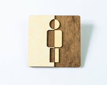 panneau de porte de wc humoristique noir en bois ecriteau. Black Bedroom Furniture Sets. Home Design Ideas