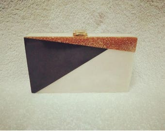 Fabulous Half White&Glitter Acrylic Clutch/Marble Effect Party Clutch/Gift Clutch/Wedding Clutch