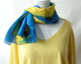 blue and yellow silk scarf, hand dyed silk scarf, elegant silk scarf,handmade silk scarf, gift for her