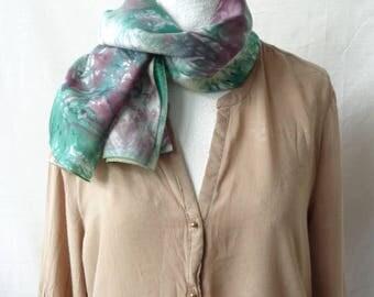 green  and burgandy  silk scarf, hand dyed silk scarf, elegant silk scarf,handmade silk scarf, gift for birthday
