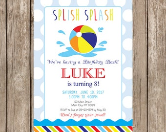 Beach Ball Birthday Party, Pool Party, Summer Birthday Party  Invitation- Digital